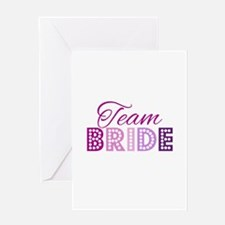 Team Bride in purple and pink Greeting Cards