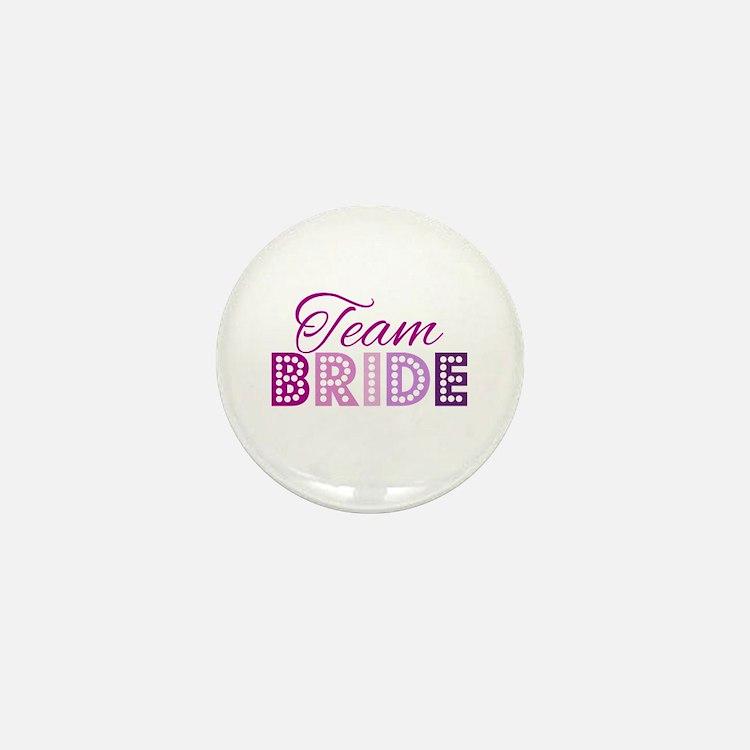 Team Bride in purple and pink Mini Button