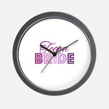 Team Bride in purple and pink Wall Clock