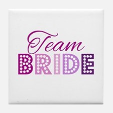 Team Bride in purple and pink Tile Coaster