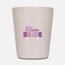 Team Bride in purple and pink Shot Glass