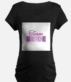 Team Bride in purple and pink Maternity T-Shirt