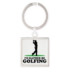 Id Rather Be Golfing Square Keychain