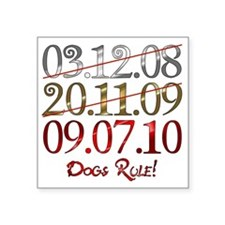 "UK_dates_dogs Square Sticker 3"" x 3"""