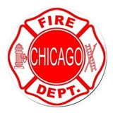 Chicago fire department Round Car Magnets