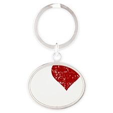 heartbacon_white Oval Keychain