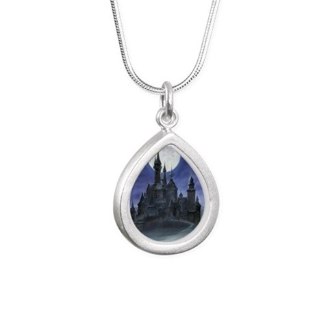 gothic castle reworked Silver Teardrop Necklace