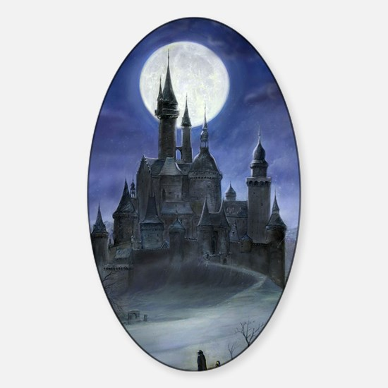 gothic castle reworked Sticker (Oval)