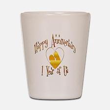 happy anniversary heart copy Shot Glass