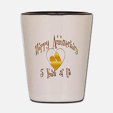 happy anniversary heart 5 Shot Glass