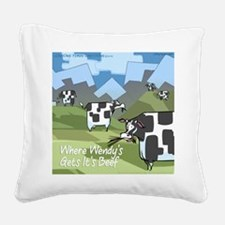 Origin Of Fast-Food Cows Square Canvas Pillow