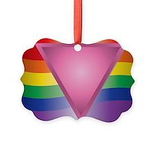 Wide Rainbow Triangle Ornament