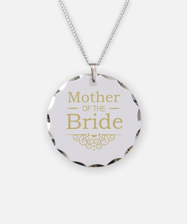 Mother of the Bride gold Necklace Circle Charm