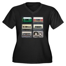 cassettes sq Women's Plus Size Dark V-Neck T-Shirt