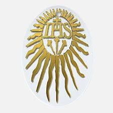Jesuit IHS Monogram_Light Oval Ornament