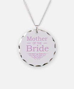Mother of the Bride pink Necklace Circle Charm