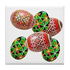 Six Colorful Easter Eggs Tile Coaster
