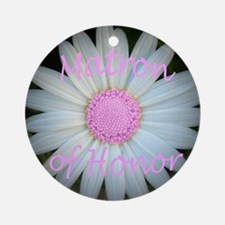 Pink daisy matron of honor Round Ornament
