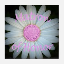 Pink daisy matron of honor Tile Coaster