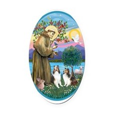 Oval-St Francis (w) - 2 Shelties ( Oval Car Magnet