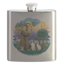 FF-St Francis (W) - 2 Shelties (DL) Flask