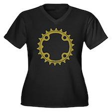 ChainRing Women's Plus Size Dark V-Neck T-Shirt