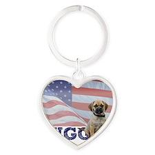 FIN-puggle-patriotic2 Heart Keychain