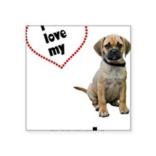 "FIN-puggle-love-CROP Square Sticker 3"" x 3"""