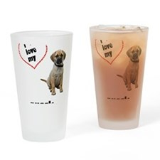 FIN-puggle-love-CROP Drinking Glass