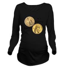 coin shirt Long Sleeve Maternity T-Shirt