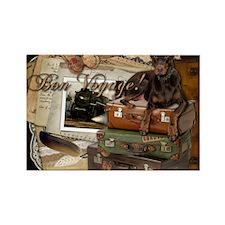Traveling_Doberman_Bon_Voyage_Roc Rectangle Magnet