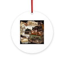 Traveling_Doberman_Safe_Journey_Roc Round Ornament