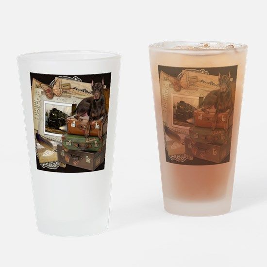 Traveling_Doberman_Rocky_SQ Drinking Glass