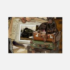Traveling_Doberman_Rocky_SQ Rectangle Magnet