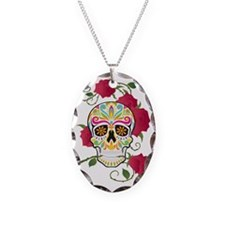 Rose Sugar Skull Necklace Oval Charm