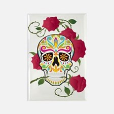 Rose Sugar Skull Rectangle Magnet