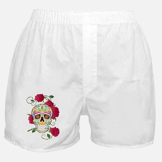 Rose Sugar Skull Boxer Shorts
