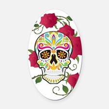 Rose Sugar Skull Oval Car Magnet