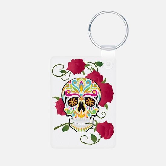 Rose Sugar Skull Keychains