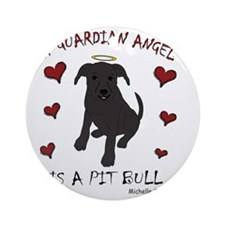 PitBullBlk Round Ornament