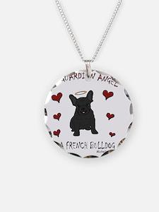 FrenchBulldogBlk Necklace Circle Charm