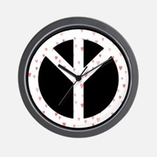 Turn The  Peace UP White Hearts Wall Clock