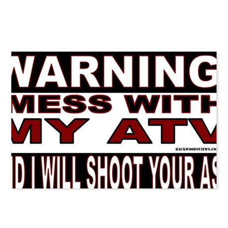 WARNING MESS WITH MY ATV Postcards (Package of 8)
