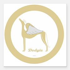 "DODGIE ANGEL GREY gold r Square Car Magnet 3"" x 3"""