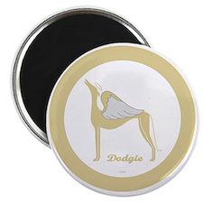 DODGIE ANGEL GREY gold rim round ornament t Magnet