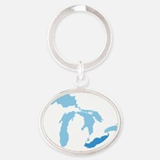 Great_Lakes_With_Lake_Erie_15.35_x_1 Oval Keychain