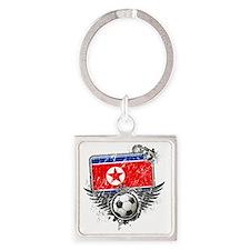 Soccer fan North Korea Square Keychain