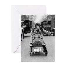 Flapper Driving Pedal Car Greeting Card