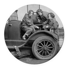 Young Lady Auto Mechanics Round Car Magnet