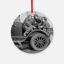 Young Lady Auto Mechanics Round Ornament